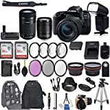 Canon EOS 77D DSLR Camera with EF-S 18-135mm f/3.5-5.6 is USM Lens + EF-S 55-250mm f/4-5.6 is STM Lens + 2Pcs 32GB Sandisk SD Memory + Universal Flash + Battery Grip + Filter & Macro Kits + More