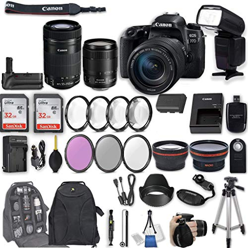 Canon EOS 77D DSLR Camera with EF-S 18-135mm f/3.5-5.6 is USM Lens + EF-S 55-250mm f/4-5.6 is STM Lens + 2Pcs 32GB Sandisk SD Memory + Universal Flash + Battery Grip + Filter & Macro Kits + More For Sale