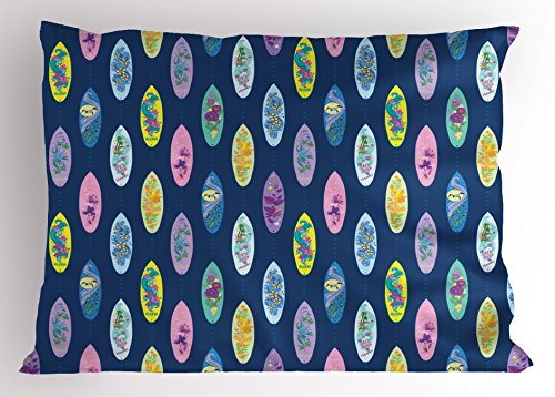 Ambesonne Surfboard Pillow Sham, Boards with Aloha Hawaii Vibrant Artistic Flowers Graphic Design Hippie Hibiscus, Decorative Standard King Size Printed Pillowcase, 36 X 20 inches, Multicolor by Ambesonne