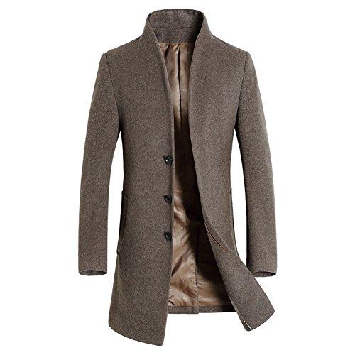 2017 Men's Wool Trench Coat Slim Fit Long Jacket Single Breasted Overcoat (Medium, Light Tan) (Barnes Wool Top Coat)