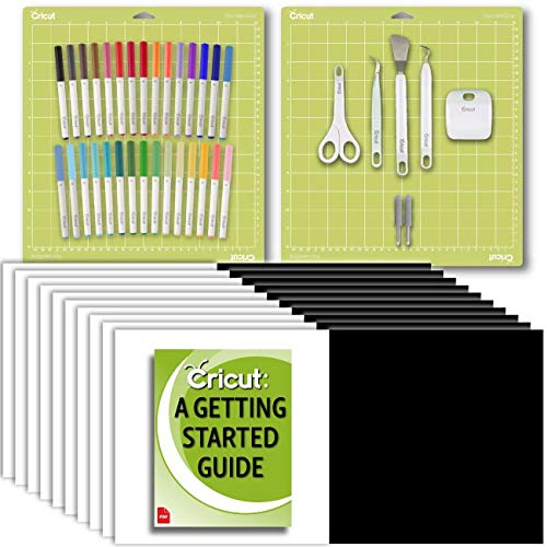 Cricut Starter Bundle, Beginner Guide, Basic Tool Kit, Sketch Pen Set, Replacement Blades, Permanent Vinyl Pack