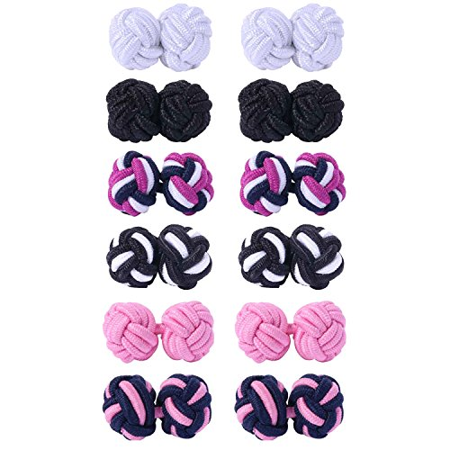 BodyJ4You 12PC Cufflinks Silk Knot Vintage Casual Men Shirt Black White Pink Purple Jewelry -
