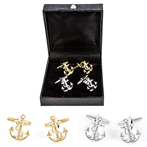 (MRCUFF Anchor 2 Pairs Cufflinks in a Presentation Gift Box & Polishing Cloth)