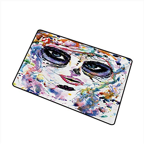 Axbkl Interior Door mat Sugar Skull Halloween Girl with Sugar Skull Makeup Watercolor Painting Style Creepy Look W16 xL20 Super Absorbent -