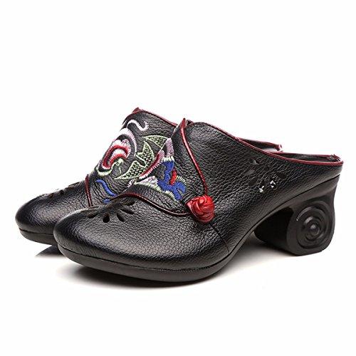 KPHY Primavera Y Verano Baotou Madre Zapatillas Retro Estampados Hollow Rough Fondo Suave Media Cool Zapatillas. black