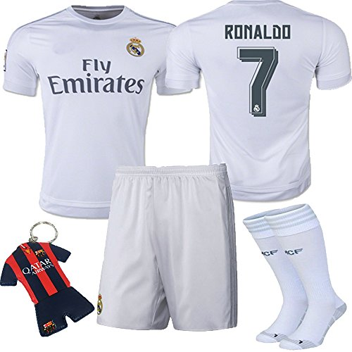 fc8d0c0ce Barcelona Kids Jersey 2015 2016  7 Ronaldo White Real Madrid Home Kid  Soccer Jersey   Shorts   Socks   Key Chain 3-14 Years (13-14 YEARS ) - Buy  Online in ...