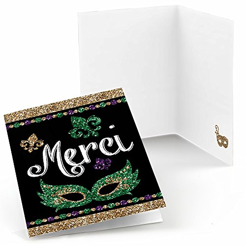 Big Dot of Happiness Mardi Gras - Masquerade Party Thank You Cards (8 (Mardi Gras Stationery)