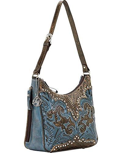 American West Annie's Secret Hobo Bag, Distressed Charcoal/Denim Blue, One - West Hobo Bag American