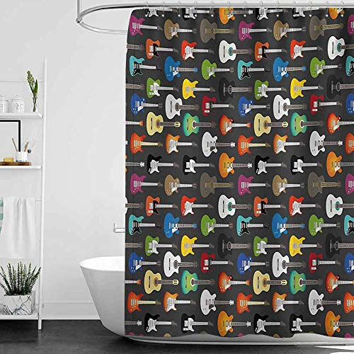 StarsART Shower Curtains Teal and Gray Guitar,Grunge Instruments Strings Creativity Writing Songs Digital Classic Acoustic Music,Multicolor,W65 x L72,Shower Curtain for Shower stall -