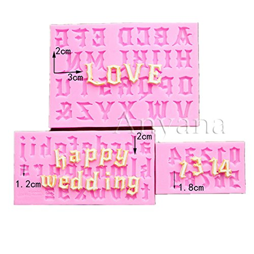 Anyana Uppercase Lowercase Letters Alphabet gothic numbers Candy Silicone Mold for Sugarcraft, Cake Decoration, Cupcake Topper, Fondant, Jewelry, Polymer Clay, Crafting Projects, Non stick easy to use