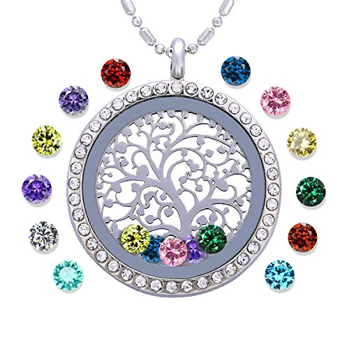 (Family Tree of Life Birthstone Necklace Jewelry - Gifts for Mom Floating Charm Living Memory Lockets Pendant, Birthday Gifts, Christmas Day Gifts, Anniversary Thanksgiving Gifts)