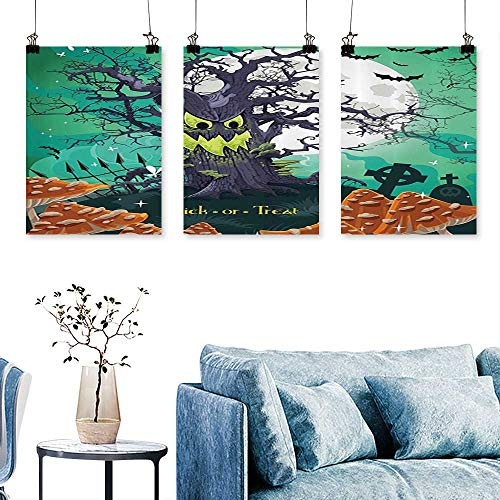 SCOCICI1588 3pcs Triptych Trick or Treat Halloween Theme Dead Forest with Spooky Tree GravesMushrooms Print On Canvas No Frame 24 INCH X 40 INCH X 3PCS ()