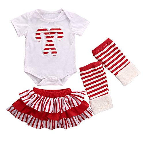 Xmas Baby Girl Candy Cane Romper Tutu Skirts Leg Warmers 3pcs Outfits Set (6-12 Months, (Xmas Cane)