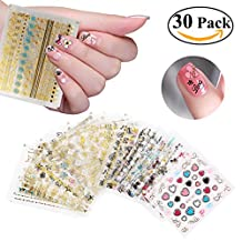 RUIMIO Nail Stickers Decals 3D Nail Art Designs 30 Sheet
