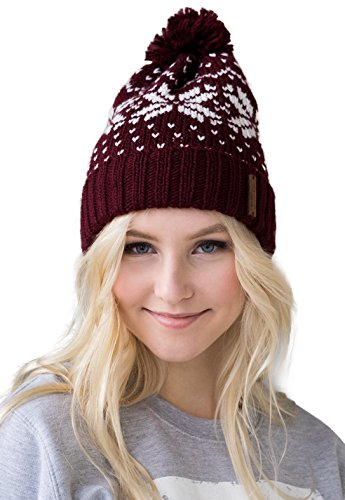 Snowstar Beanie Hat – Fair Isle Pattern Bobble Slouchy Style Warm Soft Knitted Kawaii Vegan Mens Womens Unisex - Wine/White (One - Store Hours Fair Fashion