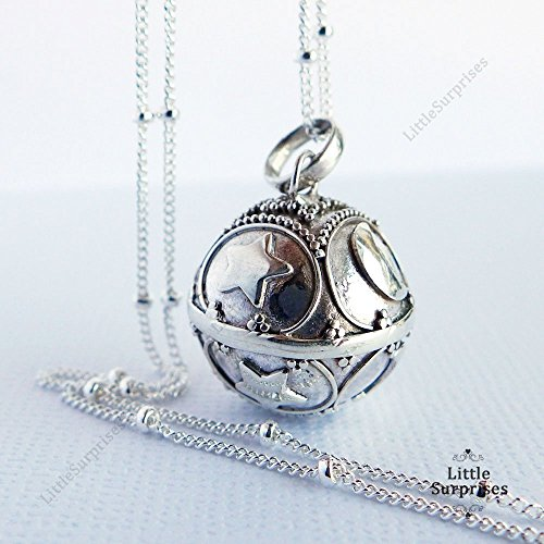 - 16mm Angel Caller Moon and Star Sterling Silver Harmony Ball 20