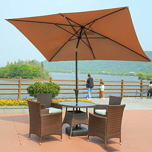 Beach Umbrella Garden Parasol rectangle Sunshade Protection Tilt Function,3m X 2m,For Home Beach Golf Fishing Patio Holiday Outdoor Activities