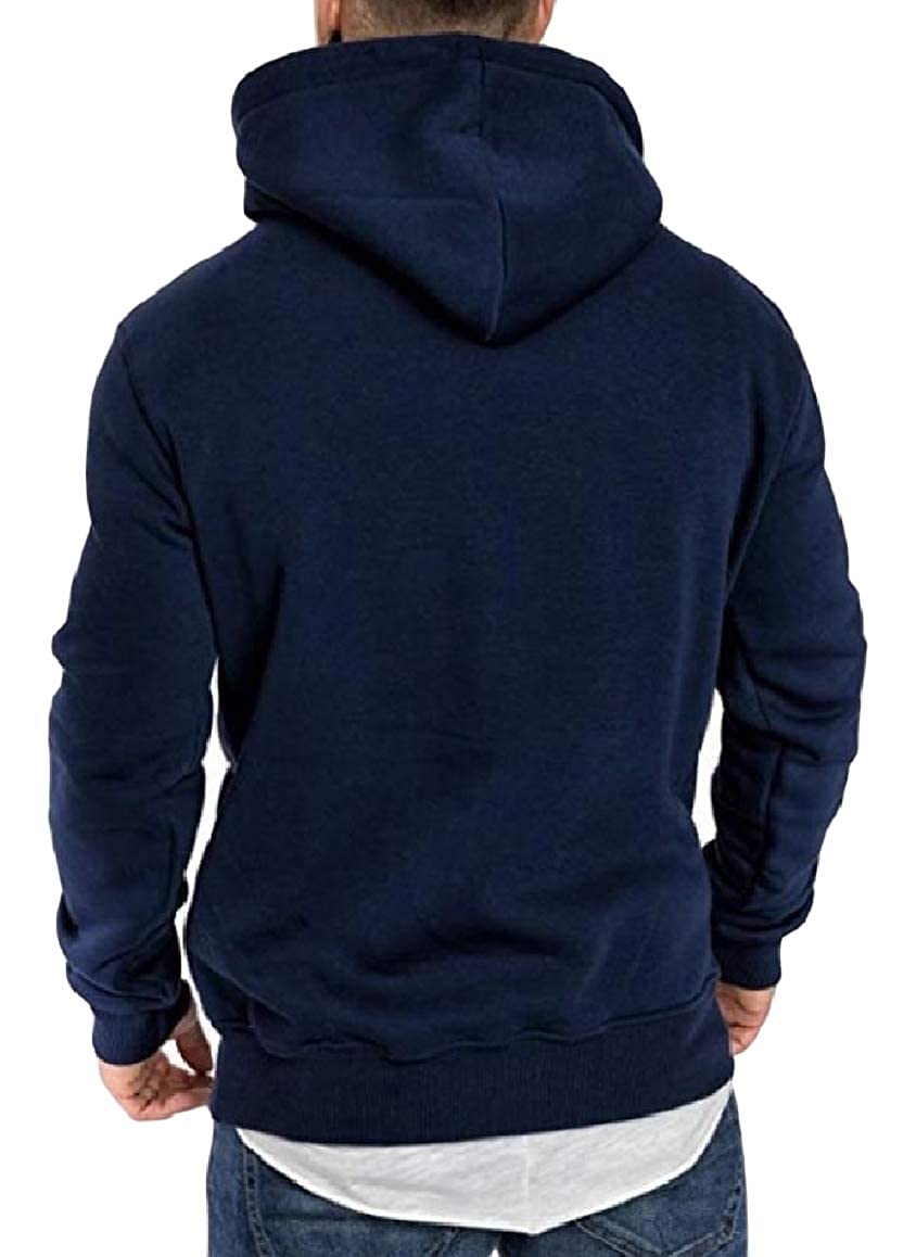 RingBong Mens Casual Solid Hooded Plus-Size Pocket Zip Sweatshirts Outwear