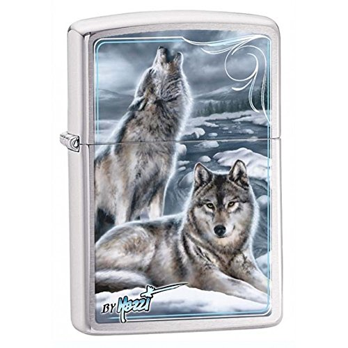(Howling Wolf Zippo Outdoor Indoor Windproof Lighter Custom Personalized Engraved Message Permanent Engraving on Backside)