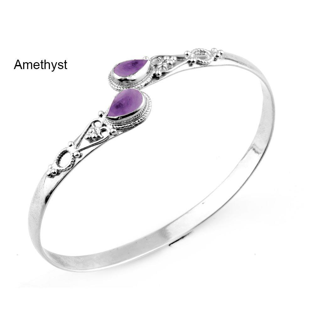 11.70gms, 3.20ct Genuine Amethyst .925 Silver Overlay Handmade Fashion Cuff Bangle Jewelry