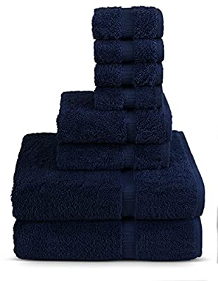 TURKUOISE TURKISH TOWEL 8 Piece Turkish Luxury Turkish Cotton Towel Set - Eco Friendly, 2 Bath Towels, 2 Hand Towels, 4 Wash Clothes by