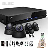 ELEC® New 4 Ch Channel HDMI CCTV H.264 Internet & 3g Phone Accessible 4-channel DVR with 500GB Hard Drive 4 Dome Night Vision Cameras Mobile e-cloud viewing,Multi-channel Playback, Email Alert,Motion Detection