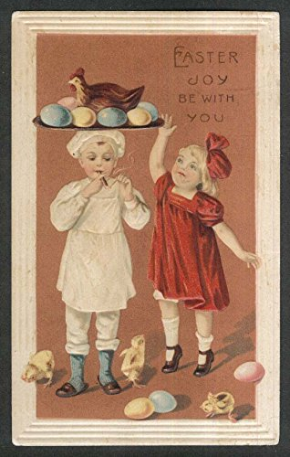 Easter Joy boy chef smoking cigar with egg platter on head postcard 1912