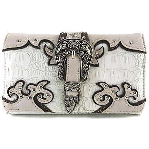 Justin West Concealed Carry Western Croc Buckle Duo Color Shoulder Handbag Purse (Beige Wallet -