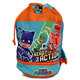 PJ Masks Boy's Beach Drawstring Cinch Backpack Tote Bag (Blue/Orange)