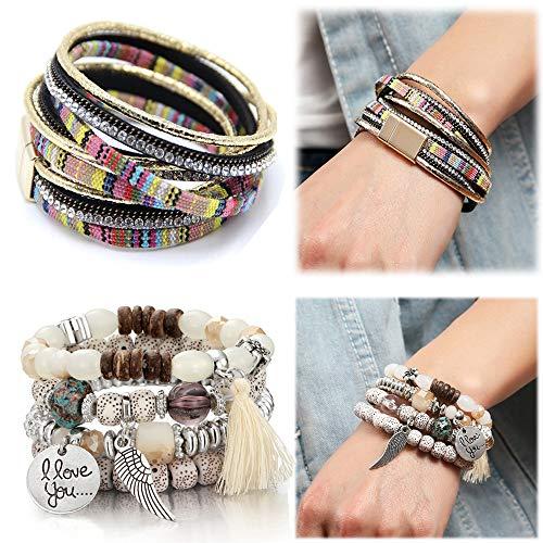 SEVENSTONE 2 Sets Bohemian Beaded Bracelets for Women Multilayer Stretch Stackable Bracelet Set Multicolor Jewelry