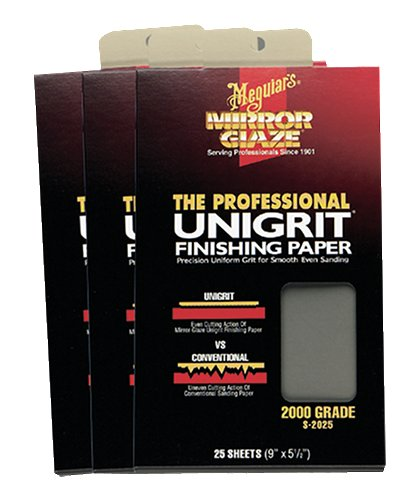 Meguiar's S2025 Mirror Glaze Unigrit Finishing Paper 2000 Grit (25 sheets)
