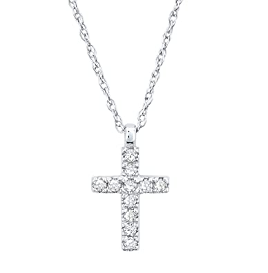 cbec039a2 Image Unavailable. Image not available for. Color: ZE 10k White Gold  Diamond Cross Pendant