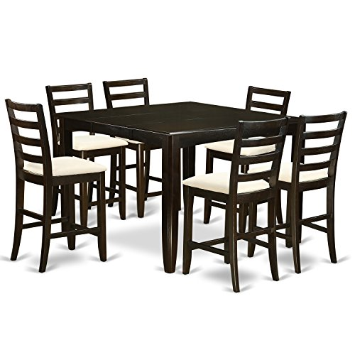 East West Furniture FAIR7-CAP-C 7-Piece Pub Height Table Set, Microfiber Upholstered Seat, Cappuccino Finish