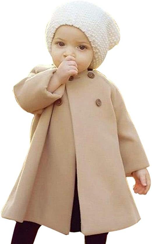 12-18 Months, Black Sixcup  Toddler Baby Girls Button Trench Coat Cloak Princess Autumn Winter Windbreaker Jacket Outwear Warm Coat Clothing Windbreaker for 0-3 Years Old