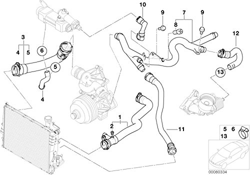 BMW Genuine Cooling System Water Hose Coolant Return Pipe 11537802629