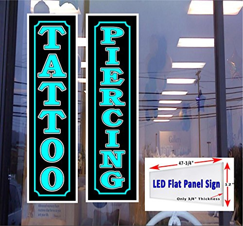 - 2 LED light box signs TATTOO & PIERCING blue 48