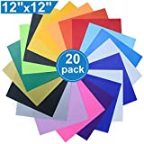 """Heat Transfer Vinyl for T-Shirts, 20 Pack - 12""""x 12"""" Sheets - 18 Assorted Colors, Iron On HTV for Cricut and Silhouette Cameo"""