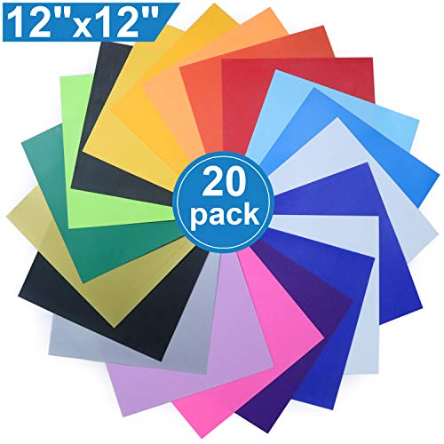 Heat Transfer Vinyl for T-Shirts, 20 Pack - 12x 12 Sheets - 18 Assorted Colors, Iron On HTV for Cricut and Silhouette Cameo