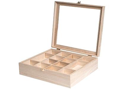 Caja de madera con vitrina de 32 x 32 x 10 cm. y separadores de