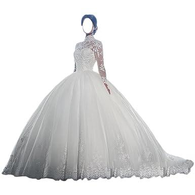 Women\'s High Neck Long Sleeve Muslim Wedding Dress Bridal Ball Gown ...