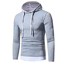 Litetao Men Fall Fashion Hoodie Hooded Sweatshirt Top Pullover Sport Patchwork Blouse