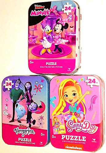3 Collectible Puzzle Tins for Girls Ages 5+ - Disney Junior and Nick Jr. Bundle Featuring Minnie Mouse and Daisy Duck, Sunny Day, and Vampirina (24 Pieces Each)