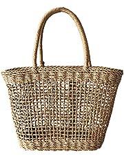 Mochila de verão feminina de palha com alça superior em tecido de palha para praia com palha de ratã e bolsa de mão PRETYZOOOM