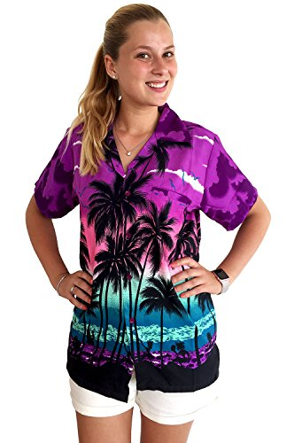 Funky Hawaiian Blouse, Beach, purple, (Womens Hawaiian Shirts)