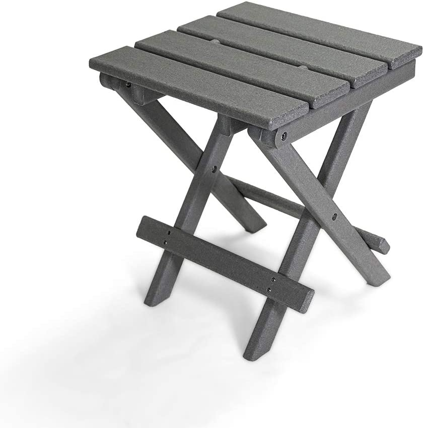 Resin TEAK HDPE Folding Outdoor Side Table   Fully Assembled   Weather Resistant, Patio Side Table for Small Spaces Outside (Gray)