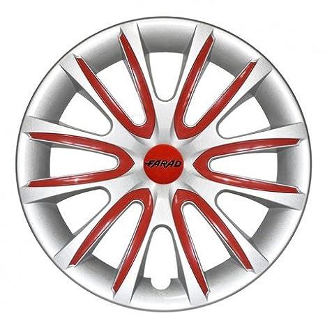 Farad -Tapacubos universales 2 tonos 14 pulgadas plateado/rojo: Amazon.es: Coche y moto