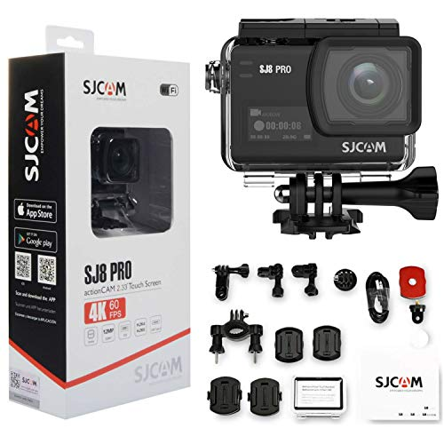 SJCAM SJ8 Pro 4K Action Camera with Touchscreen 60fps Ultra Full HD EIS Stabilized Raw Image 1200mAh High Capacity Battery 170°Wide-Angle Lens 5G WiFi Digital Underwater Outdoor Activity Sports Cam