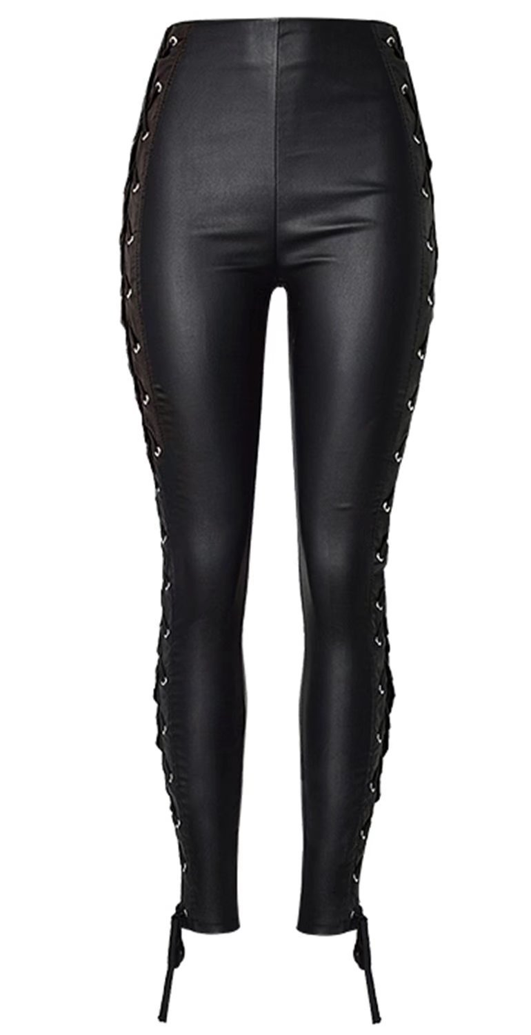 Betusline Women's Lace Up Sides PU Leather Leggings High Waist Tights Pants