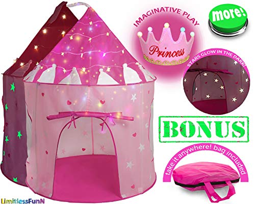 LimitlessFunN Kids Play Tent with Star Lights Bonus Carrying Case [ Pop Up Portable Glow in The Dark Stars Pink ] Princess Castle Children Playhouse for Girls Boys, Indoor & Outdoor Use
