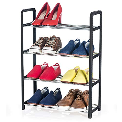 Artmoon Banff Compact and Functional 4 Tier Shoe Rack |8 Pairs |Easy to Assemble Without Tools | Entryway Shoe Tower with Metal Shelves and Black Plastic Rattan Frame (Shoe Stair Rack)